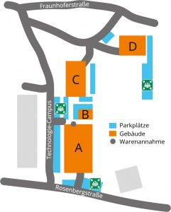 Map of the area of the 3D-Micromac premises